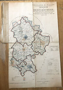 England & Wales Diagram Of Bedfordshire Suryeyed In 1878-82 - Old Folded Map