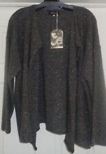 FAB! NWT New $1180 ESKANDAR Open Front Drape Lapel jacket SWEATER OS mushroom