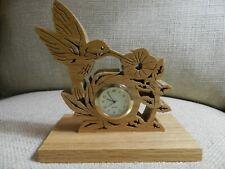 "Hand carved Hummingbird Shelf / Desk clock - 5.25"" tall"