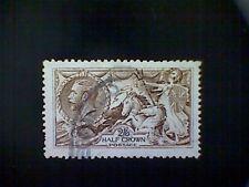 Stamps,Great Britain, Scott #173, used(o), 1913, Sea Horses, 2sh/6p, dark brown
