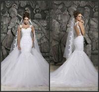2017 New White/Ivory Mermaid Wedding Dress Lace Bridal Gown Size 6 8 10 12 14 16