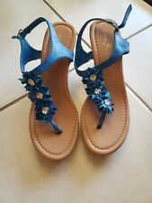 Fashion Focus Alicia-4 women's slingback wedge sandals,color blue, size 9