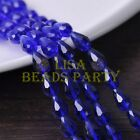 New 30pcs 12X8mm Faceted Teardrop Crystal Glass Spacer Loose Beads Deep Blue