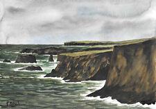 ORIGINAL AQUARELL - Esha Ness, Shetland Insel, Schottland.