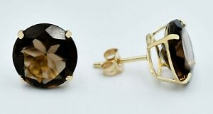 GENUINE 8.38 Cts SMOKY TOPAZ  STUD EARRINGS 14K GOLD *Free Certificate Appraisal