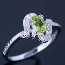 Fine Jewelry 0.48CT Peridots Diamonds Gemstone Wedding Ring Solid 14k White Gold