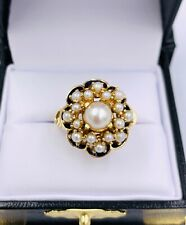Antique 14k Yellow Gold Pearl cluster Enamel women's Ring Vintage