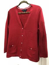 Jones New York Signature Cardigan Sweater Cotton Blend Red Button Sz L XL 46x27