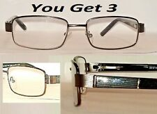 Cyber Monday 3 Pair +1.00 Magnivision Foster Grant Lorenzo Metal Reading Glasses