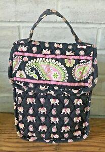 Vera Bradley PINK ELEPHANT Black Print Insulated Bag Lunch Gym Makeup Made USA