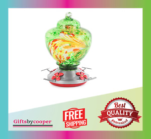 Hummingbird Feeders for Outdoors with Best Color Hand Blown Glass 36 Ounces