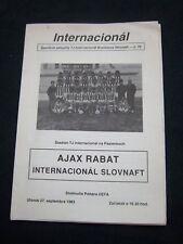Orig.PRG   UEFA Cup 1983/84   INTER SLOVNAFT BRATISLAVA - RABAT AJAX FC ! SELTEN