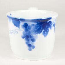 Fukagawa Japanese Porcelain Mug Coffee Cup Cobalt Blue White Grape Thick Japan