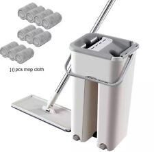 Floor Mop with Bucket Hands-Free Squeeze Microfiber FlatMop System 360° Flexible