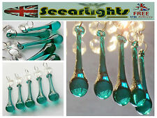 5 CHANDELIER CUT GLASS CRYSTALS PEACOCK GREEN ORB DROPS LAMP PART RETRO DROPLETS