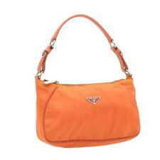 PRADA Nylon Shoulder Bag Orange Auth 18179