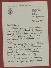 Letter. HMS Revenge. 1980. Commander M H Farr.  ce.31