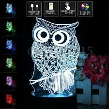 3D Owl Illusion LED Desk Table Lamp 7 Color Change Night Light Christmas Gift