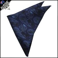 Black with Blue Paisley Pocket Square