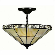 Ceiling Light Lamp Stained Glass Hanging Fixture Lighting Tiffany Style Vintage