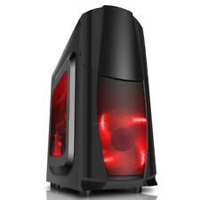CiT Dragon 3 Gaming PC Computer Case Midi ATX Tower USB 3.0 3x 12CM Red LED Fans
