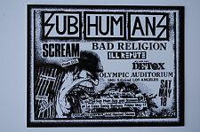 Subhumans Vintage Concert Flyer Sticker Decal (331) Punk Rock Minor Threat