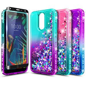 For LG Escape Plus Case, Liquid Glitter Phone Cover + Tempered Glass Protector