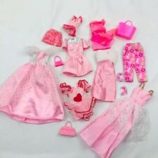 Barbie Doll Clothes Lot Pretty PINK Gowns Dress Shoes Purses Skirt Pants