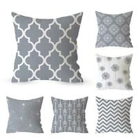 Gray  & White Geometric Throw Cover Pillow Cushion Square Case Decor Dazzling