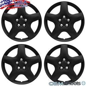 "4 New OEM Matte Black 15"" Hubcaps Fits Chevrolet Chevy Center Wheel Covers Set"