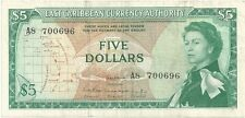 East Caribbean - Five (5) Dollars, 1965  SCARCE  FIRST SIGN !!