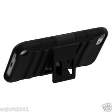 Apple iPod Touch 5 Adv Armor Hybrid Case Skin Cover w Stand Accessory Black