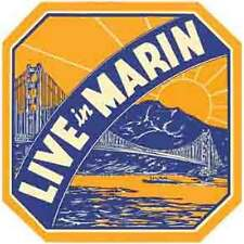 Marin County  CA   California   Vintage Looking Travel Decal Label Sticker