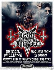 Dark Funeral / Abigail Williams 2012 Portland Concert Tour Poster -Dark Metal