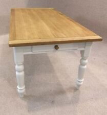 OAK AND PINE COUNTRY FARMHOUSE KITCHEN TABLE WITH A PAINTED BASE 5FT