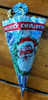 RARE Vintage FOIL CHRISTMAS TREAT HOLDER CONES. SANTA