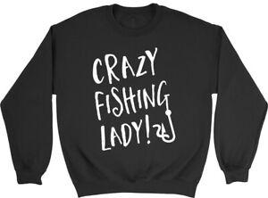 Crazy Fishing Lady Mens Womens Sweatshirt Jumper