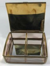 Glass Metal Gold Jewelry  Trinket Box Made in Mexico