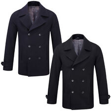 Collared Peacoat Double Breasted Coats & Jackets for Men