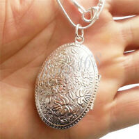 925 Sterling Silver Large Oval Carved Open Locket Pendant +Necklace Chain Set H2