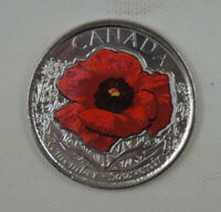 Canada 25 Cents Coin Remembrance Day 2015 UNC, Coloured