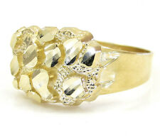 2.50 Grams Size 11 Small 10k Yellow Real Gold Mens Nugget Cluster Hip Hop Ring