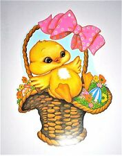 VINTAGE EASTER BEISTLE DUCKLING IN BASKET WITH EGGS BOW DIE CUT OUT
