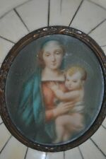 Hand Painted Miniature Religious Portrait Virgin Mary & Christ Child Framed