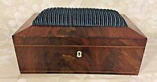 Antique Wooden Jewelry or Sewing Box w/ Lock and Key Mother of Pearl Escutcheon