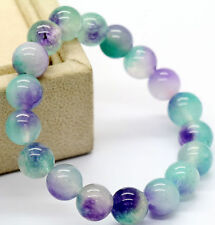 new Natural 10mm purple green Jade Gemstone Round Beads Stretchy Bracelet