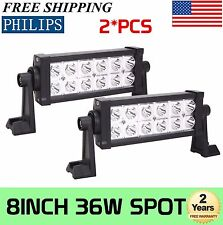 2x 8INCH 36W LED WORK LIGHT BAR SPOT BEAM DRIVING OFFROAD LAMP 4WD ATV PHILIPS