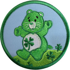 Care Bears Green Four Leaf Clover Good Luck Bear Patch Iron On Embroidered Badge