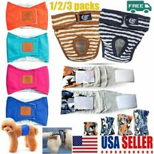 1/2/3 Pack Dog Diaper Female Pet Pent Washable Puppy Dog Diapers Reusable Diaper