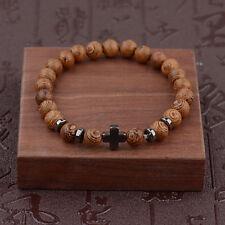 Hot Hematite Cross Wooden Bracelets Stretchy Bracelet Beads Wooden For Men Women